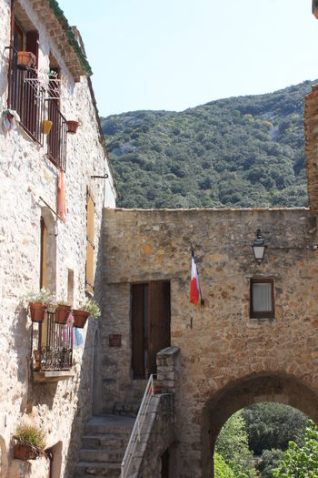 Building with french flag Bricks Building Flower Pots France French Flag Hill