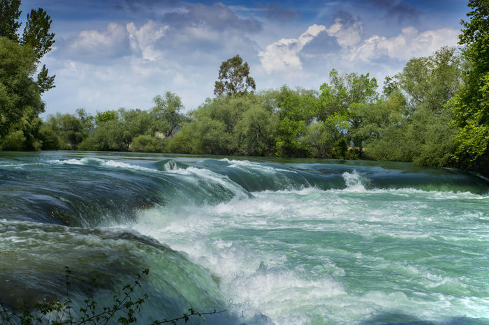 Falls at Manavgat Trees Beauty In Nature Cloud - Sky Foam Fresh Manavgat Nature No People River Scenics Water Waterfall