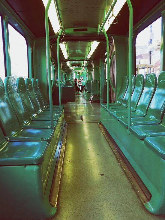 Tram Taking Photos Going To Work Returning HomeHanging Out Green Green Color Green Green Green!  Rail Transportation