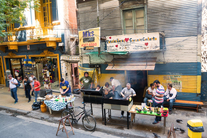 Argentina Asado Boca Buenos Aires Capital City District La Boca People Roast Roasting Street Urban