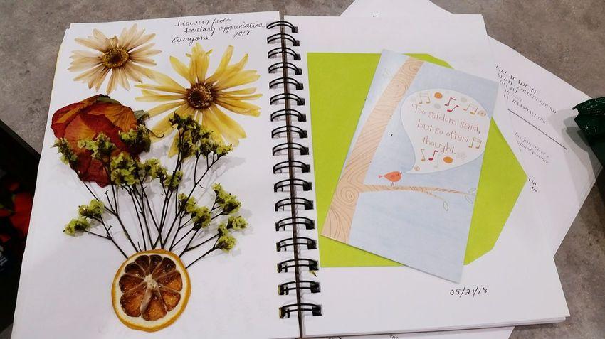 Art Journal Memories Flower Sketch Pad Spiral Notebook Table Close-up