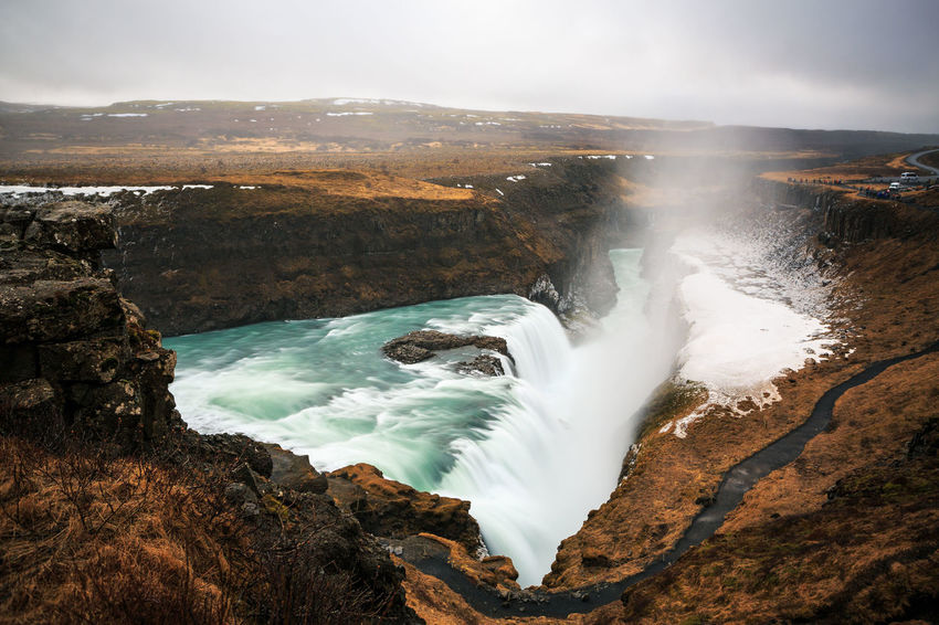 Beauty In Nature Cliff Day Gullfoss High Angle View Iceland Long Exposure Motion Nature No People Outdoors Physical Geography Power In Nature Scenics Sea Sky Tranquil Scene Tranquility Travel Destinations Water Waterfall Waterfalls Wave
