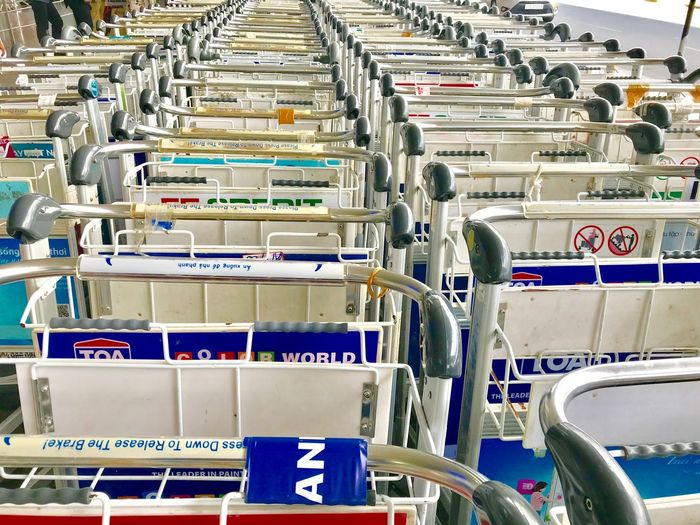 In A Row Industry Order No People Shopping Cart Indoors  Large Group Of Objects Repetition Metal Abundance