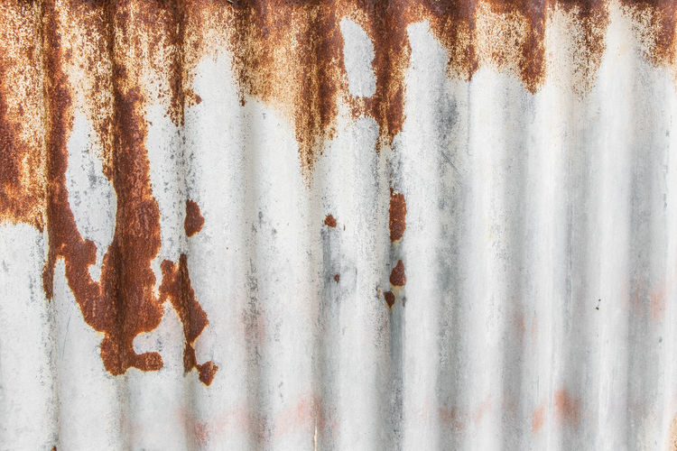 Rust on zinc sheet texture background Backgrounds Full Frame Pattern No People Rusty Textured  White Color Metal Stained Close-up Striped Sheet Metal Zinc Corrugated Iron Wall - Building Feature Old Iron Weathered Abstract Damaged Corrugated Architecture Textured Effect Silver Colored