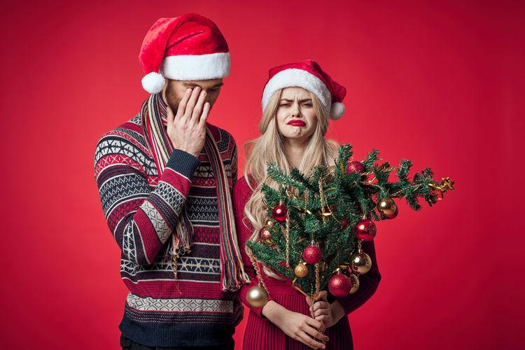 Woman holding christmas tree