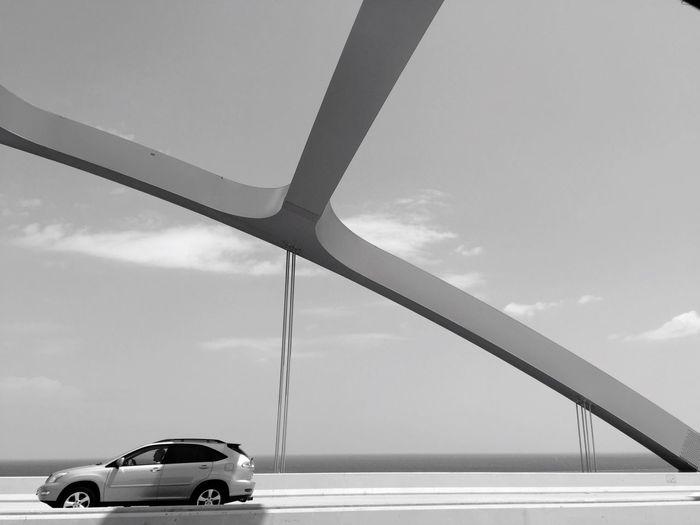 Bridges Car On A Bridge Road Meets Architecture