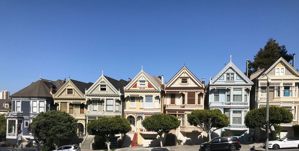 The Painted Ladies Landmarks Row House Victorians Painted Ladies San Francisco San Francisco Building Exterior Built Structure Sky Architecture Tree Clear Sky Building Residential District City