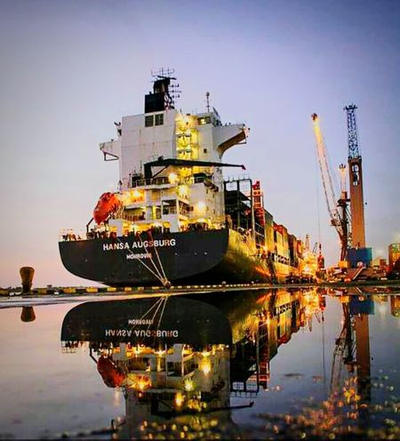 Vessel Vessel In Port Container Ship MMartenco A New Day A New Day Dawning Transportation Reflection Moored Industry