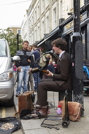 Blues BLUES MAN Busker Busking Casual Clothing City City Life Day Guitar Player Guitarrist Leisure Activity Lifestyles Music Musician Outdoors Sitting People Watching Singing Harmonica Portobello Road Guitar Microphone Playing Music Playing Music Outside Portobello Market