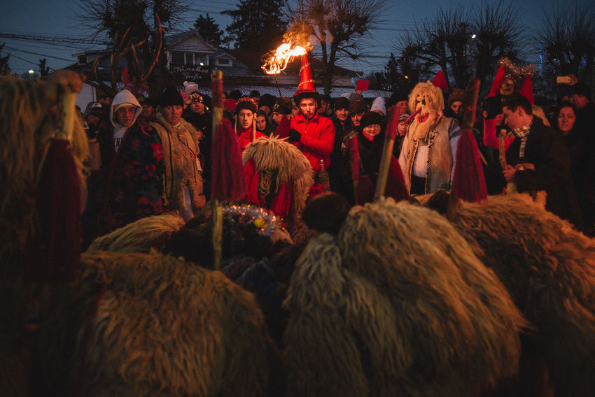 Bear dance during the New Year eve performance by one of the carnival group from Boroaia village, Romania The Photojournalist - 2017 EyeEm Awards