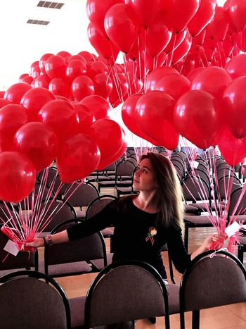 Balloon Red Young Adult Women One Person Young Women Leisure Activity
