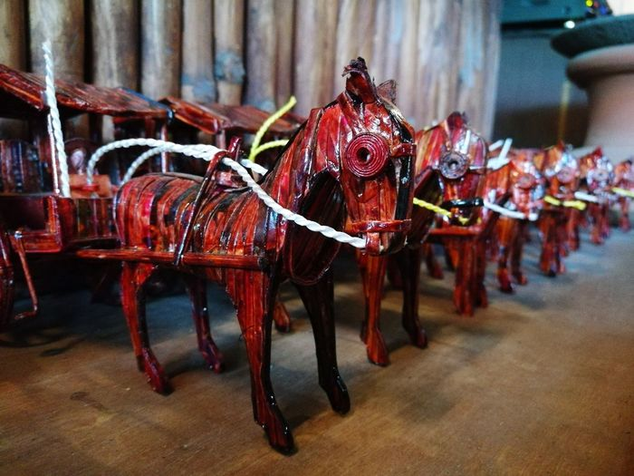miniature kalesa #miniature #minicalesa #gawangpinoy #madeofwood #minihorse #art #vigan #Ilocos #philippines In A Row Red Domestic Animals Horse Cart Animal Themes Day