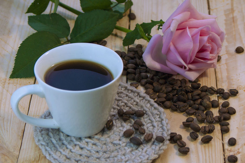 Brown Skinned Beauty Coffee Beans Cup Rosé Hot Beverage Brown Cinnamon Close-up Coffee, Cup. White Cup. Coffee Beans, Brown, Beverage Cup Drink Freshness Indoors  No People Refreshment
