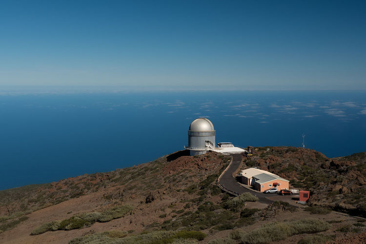 Roque De Los Muchachos Observatory On Mountain Against Sky