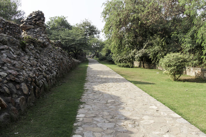 These are the ruins of the medieval Siri Fort in South Delhi, with a section of wall being visible and the stones that make up the wall, although this section of the wall surviving the centuries is pretty short. The fort was built by Alaudin Khilji to defend the core of his kingdom, primarily against the Mongols who were attacking the area. The fort helped in protection. In addition, the location of Siri where the supposed incident happened where the defeated Mongol army was brought and killed by trampling. These ruins are near Panchsheel Park and are set among greenery, the wall being many centuries old and yet standing firm in sections such as this. There is a paved walking path next to the wall, and a small stone wall at the other end and with a decorated garden. Beauty In Nature Boundary Wall Day Delhi Grass Green Greenery India Medieval Fort Medieval Structures Nature No People Outdoors Path Paved Path Plant Plants Siri Fort Siri Fort Ruins Stone Wall Tree Walking Path Wall