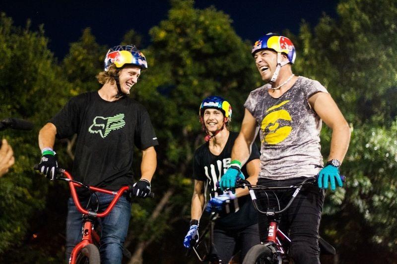 Drew Bezanson, Michael Beran and Senad Grosic having a fun moment at Pannonian Challenge XIII Pannonian Challenge Sports Skatepark Bmx