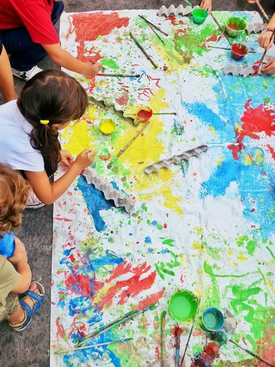 Childhood Childish Children Photography Color Pencils  Colours Creativity Fun Graffiti High Angle View Multi Colored Paintings Textured  Street Art Children Playing Children's Colours Children Painting Street Painting Children's Activities Children's World Young Artist