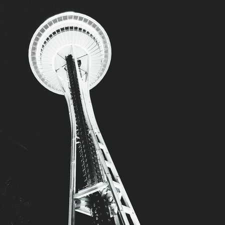 Space Needle Seattle Skyline Nightlife Architecture Tall Black Background Sky Outdoors Night