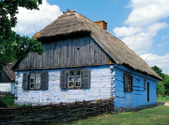 Architecture Building Exterior Built Structure Cottage Country Country Cottage Day House Hut No People Open Air Museum Poland Polen Sky Thatch Thatched Roof Thath Village Wooden House