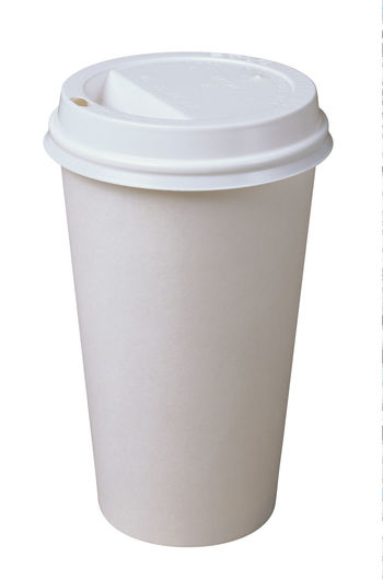 Close-up of empty coffee against white background
