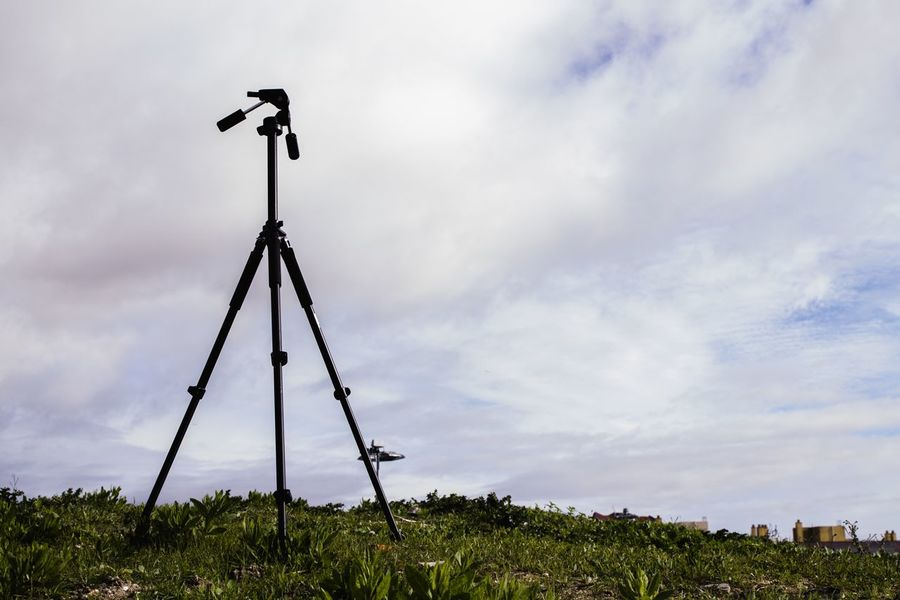 Cloud - Sky Sky No People Technology Outdoors Low Angle View Rural Scene Nature Day Tripod Photography Lines Green Nature