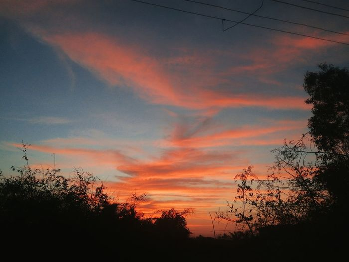 Eventide Sky Silhouette Clouds Skyfire Colors Black Colors Colorful
