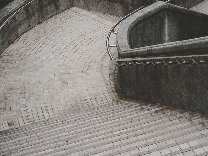 High angle view of empty steps