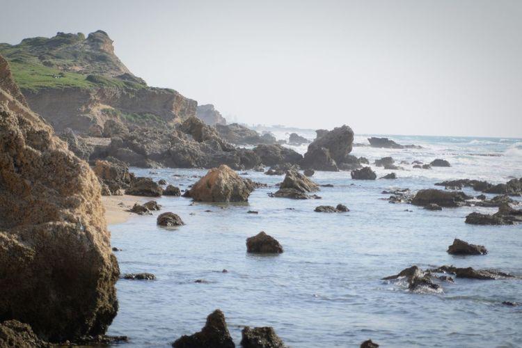 Sea Rocks Waves Beach Cliff Beautiful Nature Sunny Day Israel First Eyeem Photo