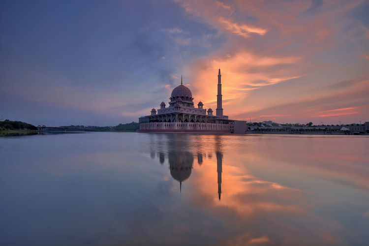 View of mosque at sunset