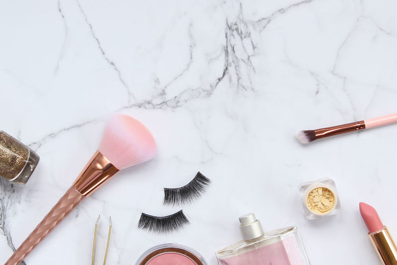 Beauty products Beauty Products Blush Copy Space Elegant Feminine  Overlay Pink Backgrounds Brushes Chic Concept Cosmetics Directly Above Eyelashes Frame Glamour Make Up Marble Perfume Powder Products Rose Gold Styled Template Vanity
