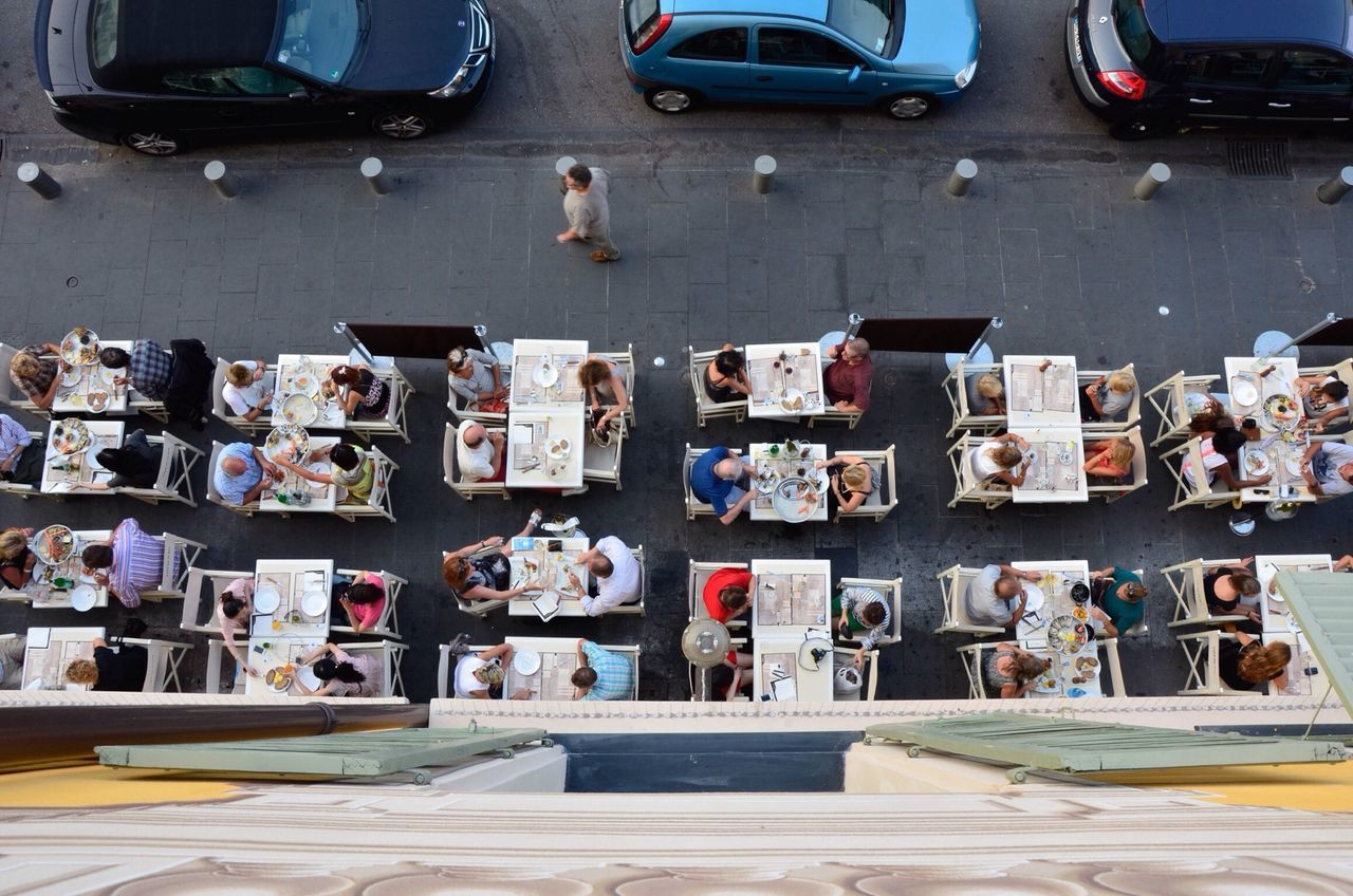 High angle view of people at an outdoor restaurant