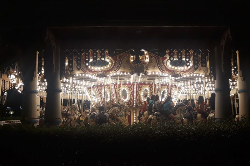 Group of people in amusement park at night