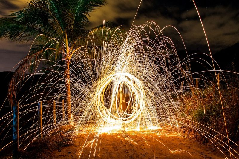 Long exposure shot of fireworks display