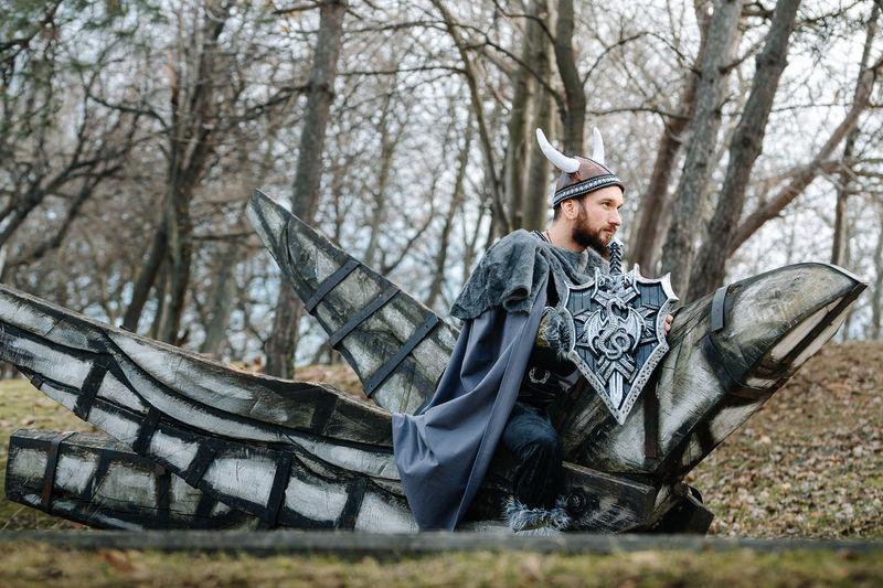 Viking warrior. Bird War Bird Costume Viking Viking Costume One Man Only Man People Tree Winter Men Warm Clothing Cold Temperature Bare Tree Woods Tree Trunk