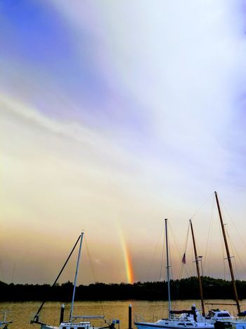 Water Sky Nature Sea Scenics Cloud - Sky Beauty In Nature Nautical Vessel Travel Oregon  Magical Moments Rainbow Effect Coos Bay Coos Bay, Oregon Rainbow Colors Rainbow In The Dark Beauty In Nature Multi Colored Hopefulness Picturesque Oregons Beauty