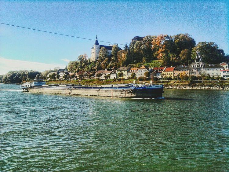 """Frachter auf der Donau bei Ottensheim"". Austria Riverscape Rivers Boats Danube River Danubio Castles Ottensheim Linz/Austria Donau"