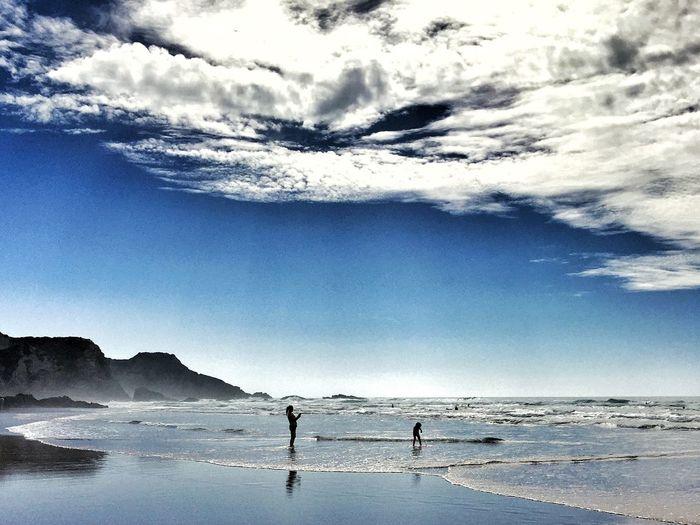 Proud Mum Taking Photos Braveheart Boy Practicing Surfing Sea Costa Vicentina Portugaligers