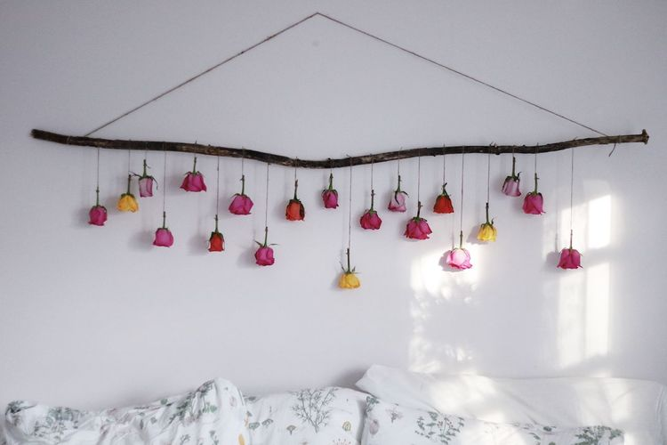 String Stick Yellow Rose Yellow Pink Color Red Flower Art Flowers Bedroom Roses Hanging Decoration No People Wall - Building Feature In A Row Indoors  White Color Day