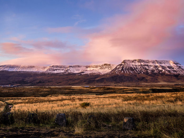 Mountain Scenics - Nature Sky Cloud - Sky Landscape Environment Nature Mountain Range No People Snow Land Beauty In Nature Winter Grass Plant Mountain Peak Snowcapped Mountain Outdoors Day Iceland