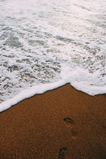 Close-up of waves on beach