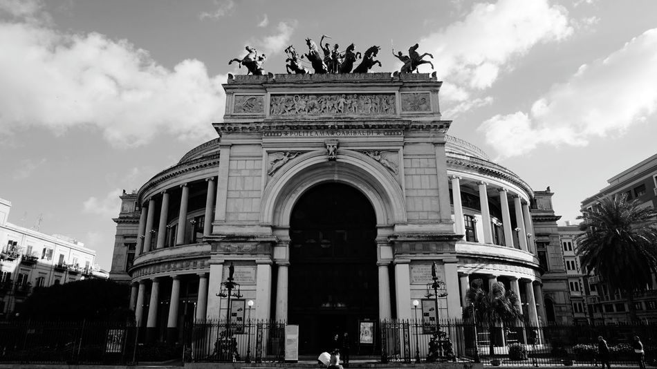 B&W. Politeama Theater. Piazza Politeama, Palermo, Sicily, Italy. Palermo Italy Sicily Photo Sony A6000 Sony Photographer Sonyalpha Street Travel Travel Destinations Architecture_collection Streetphotography Horses Horse Photography Vacation Vacations Politeama Theatre Palermo Sicilia Italia Politeama Horse Sculpture Architecture Architectural Detail Old Buildings B&w Blackandwhite Black And White EyeEm EyeEm Best Shots Theater