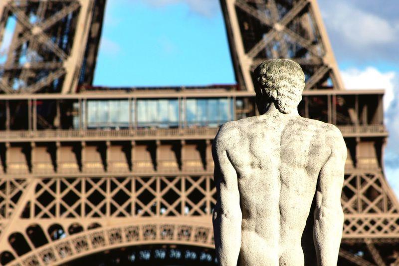 Eiffel Tower Paris France Europe Sculpture Nudelife Blue Sky Landscape Tourism Photography Urban Spring