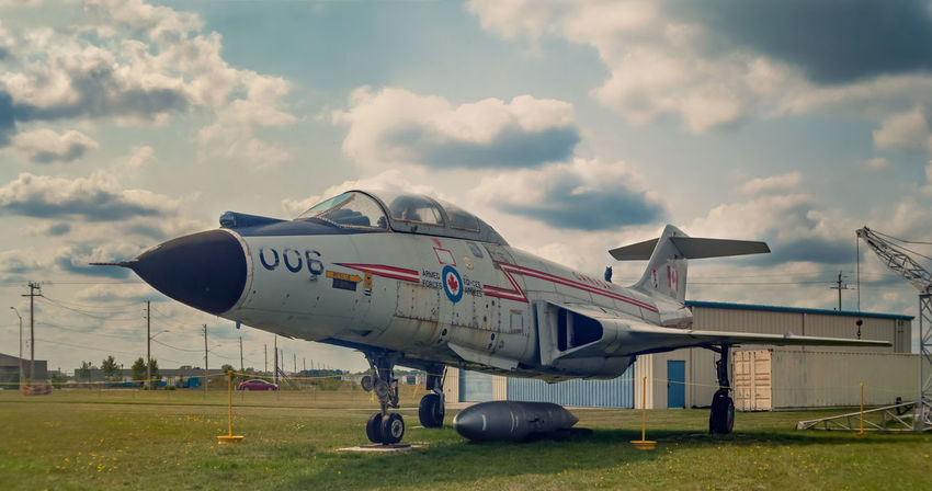 Panorama image of a McDonnell CF-101 Voodoo jet at the Jet Aircraft Museum in London, Ontario, Canada during Doors Open weekend. Afternoon HDR Panorama Sky And Clouds Air Force Aircraft Airplane Canon Clouds Clouds And Sky Day Fighter Plane Heritage Jet Military Military Airplane Museum No People Outdoors Runway Sky Transportation