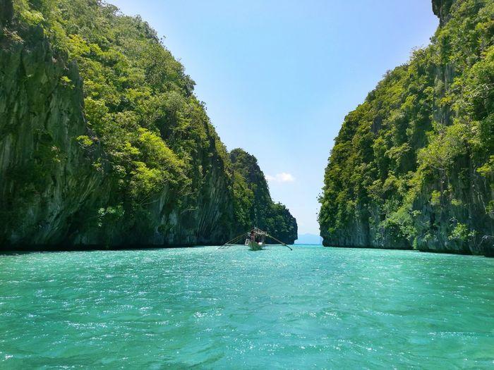 Boat Sailing In Tropical Beach In El Nido, Palawan