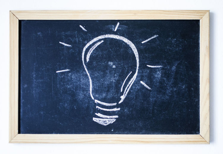 Innovation Thinking Black Color Blackboard  Brain Storming Chalk Drawing Childhood Close-up Drawing Frame Idea Indoors  Project Thoughts White Background