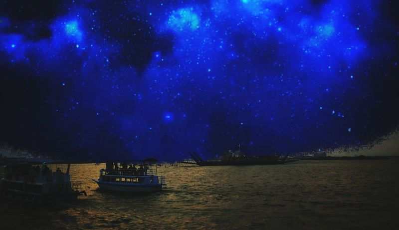 Astronomy Galaxy Star - Space Nautical Vessel Water Milky Way Lake Moored Reflection Sailing Ship