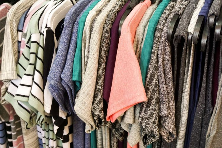 Abundance Business Choice Closet Closeup Clothing Clothing Store Coathanger Collection Fabric Fashion Garment Hanging In A Row Indoors  Large Group Of Objects Market Multi Colored No People Order Rack Retail  Retail Display Sale Store Textile Variation