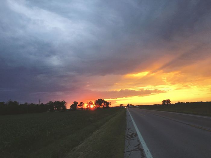 Sunsets are my favorite💛😻 Road The Way Forward Sky Cloud - Sky Nature Transportation Scenics No People Beauty In Nature Landscape Outdoors Day Summer Sunset