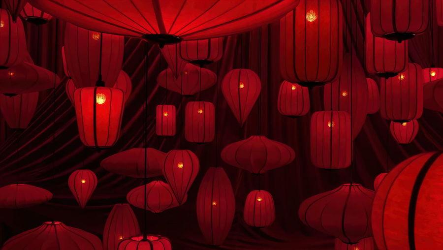 Full frame shot of red lanterns hanging at night