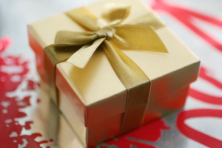 High angle view of gift box on table